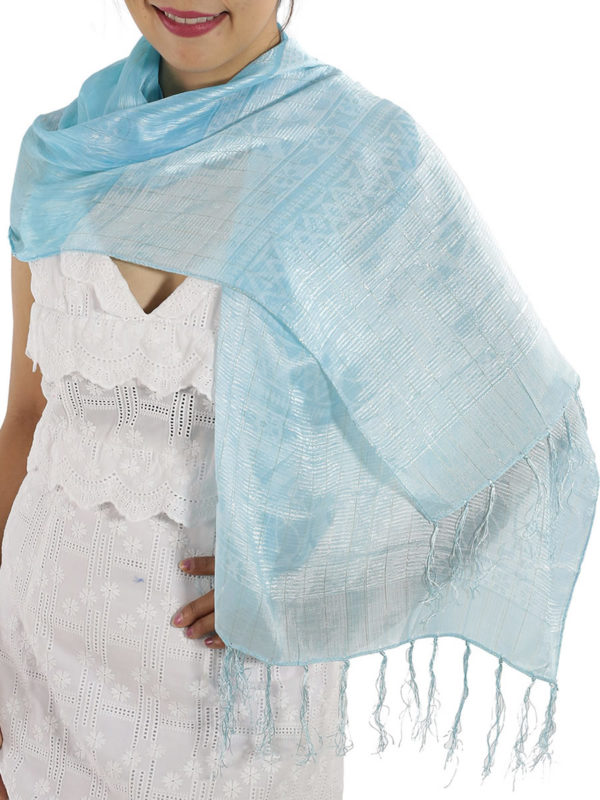 Baby Blue Silk Shawl