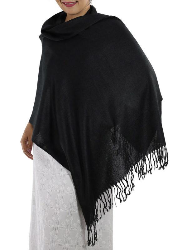 black pashmina shawl 1