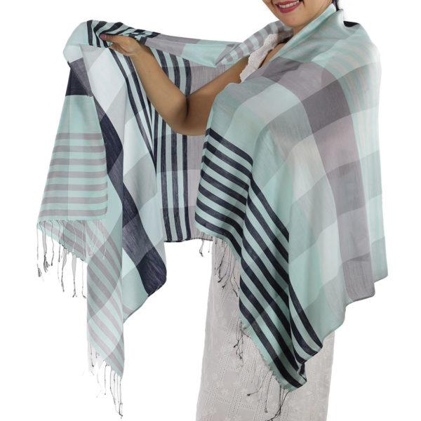 blue plaid scarf