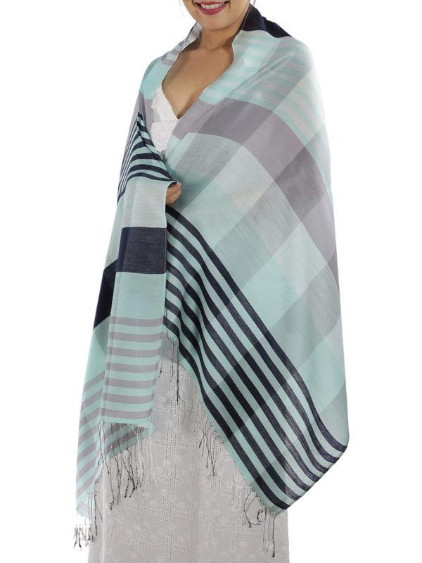 blue plaid shawl