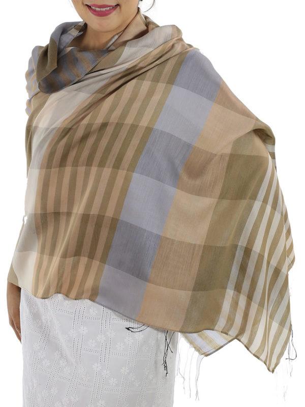 brown plaid wrap