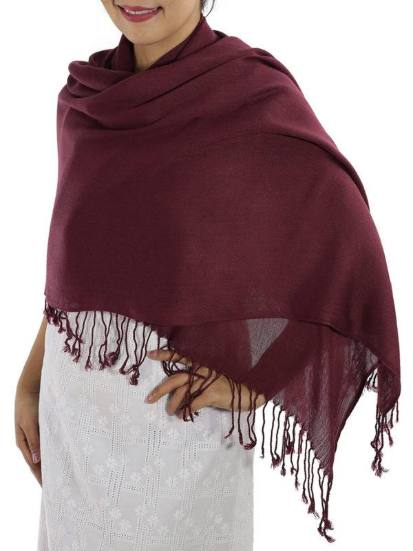 burgundy pashmina wrap