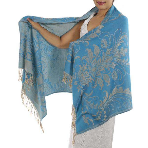 buy baby blue pashmina scarf 1