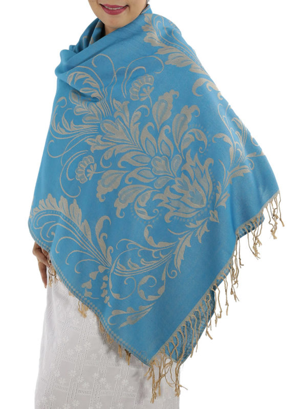 buy baby blue pashmina scarves 1