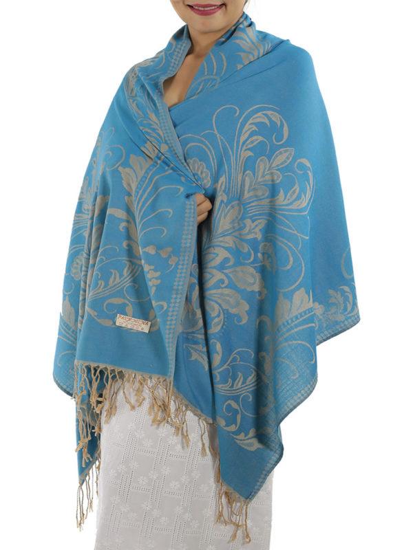 buy baby blue pashmina shawl 1