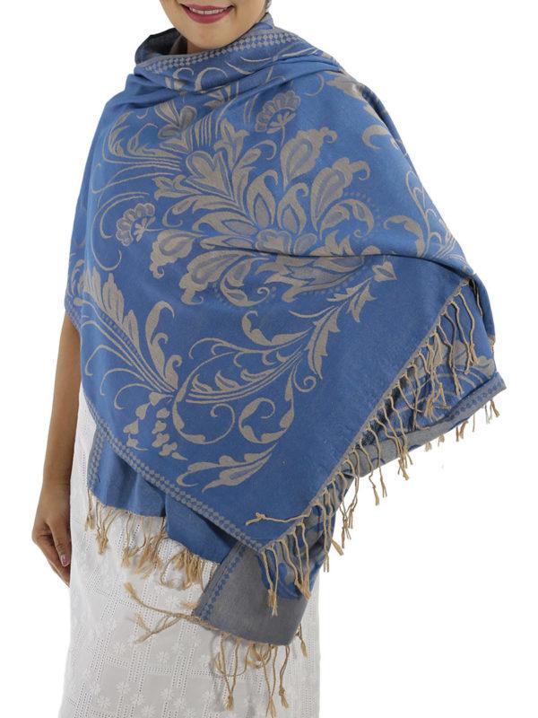 buy blue pashmina scarves