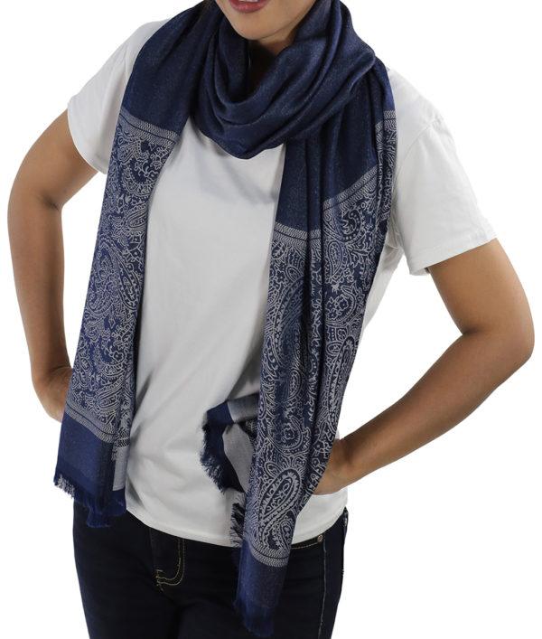buy blue silk shawls