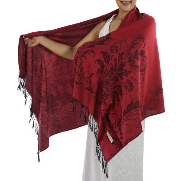 buy deep red pashmina scarf 1