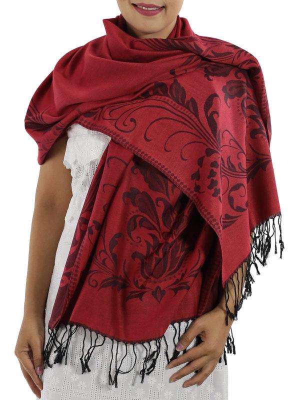 buy deep red pashmina scarves 1