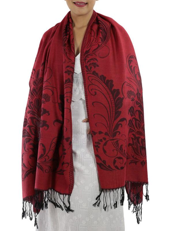 buy deep red pashmina shawl 1