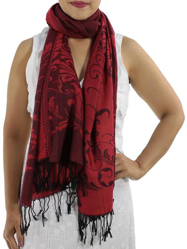buy deep red pashmina wrap 1