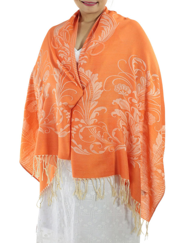buy orange pashmina shawl