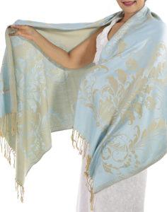 buy silver blue pashmina scarf