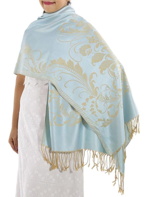buy silver blue pashmina scarves