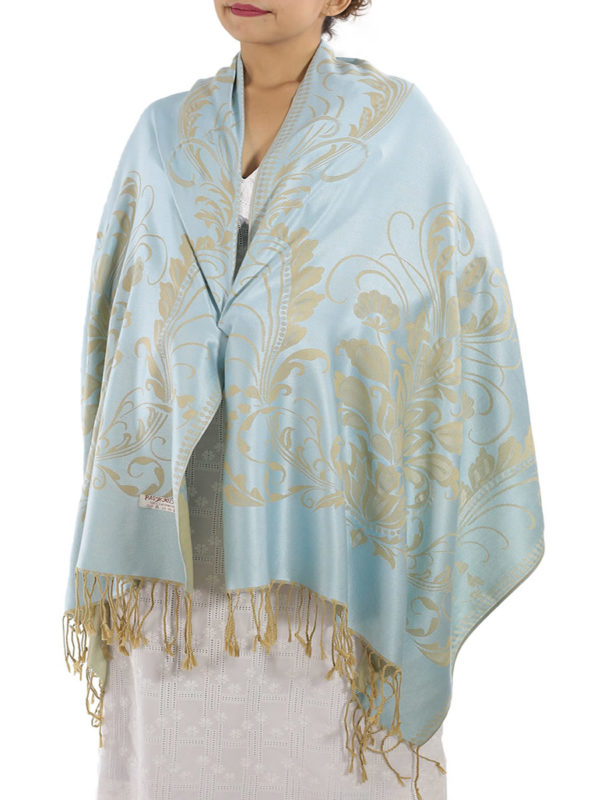 buy silver blue pashmina shawl
