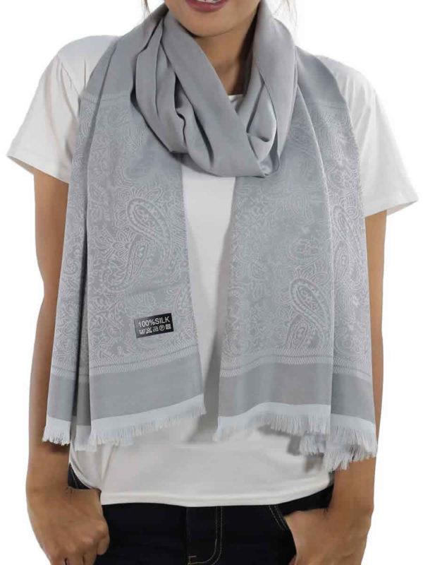 buy silver silk shawls