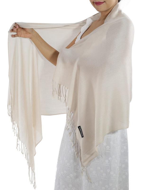 cream cashmere scarf 1