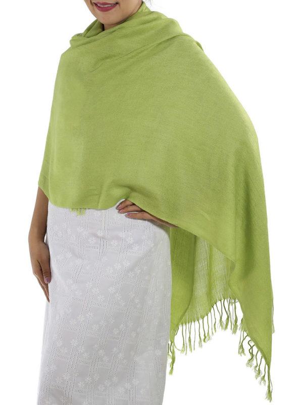 green pashmina wrap