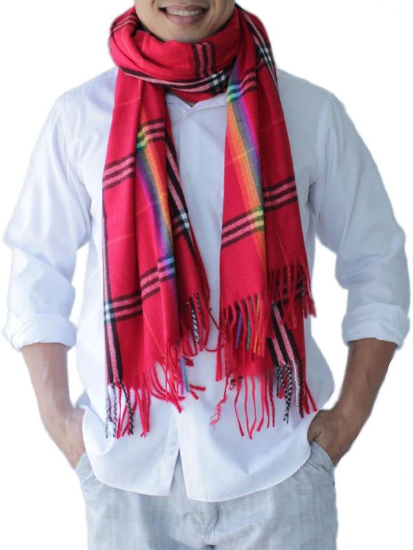 mens deep red scarves