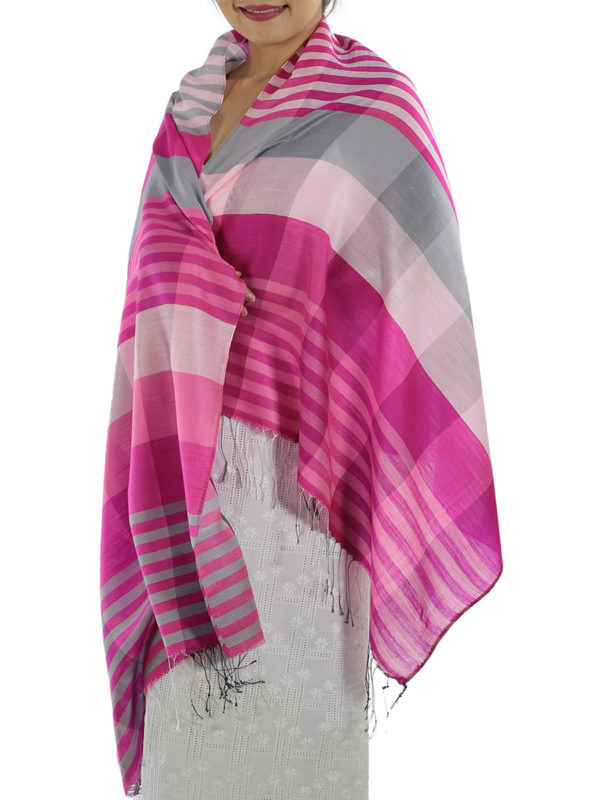 pink plaid shawl