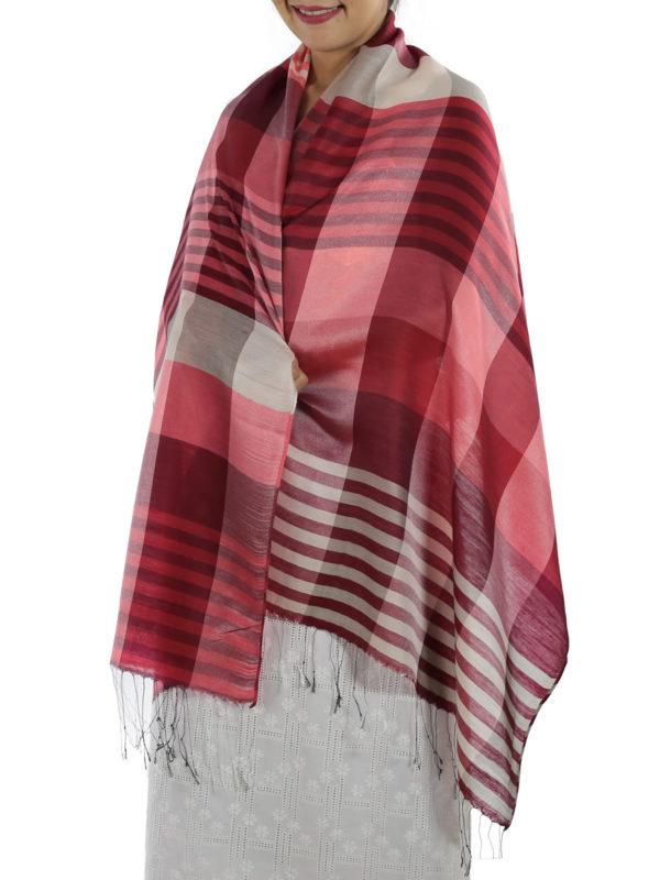 red plaid shawl