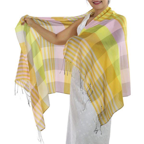 yellow plaid scarf